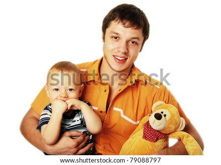 Happy young father with his son