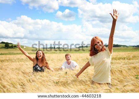 happy young friends having fun outdoors