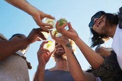 Happy young friends toasting with refreshing drinks under blue sky on summer day