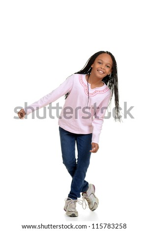 Happy young girl child dancing