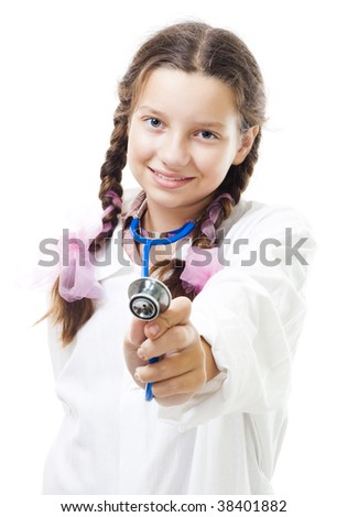 Happy young girl play doctor holding stethoscope,isolated on white