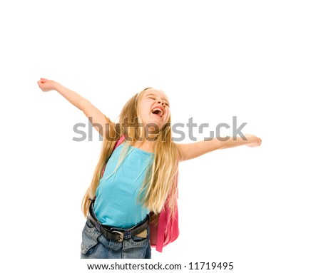 Happy young girl with a pink backpack