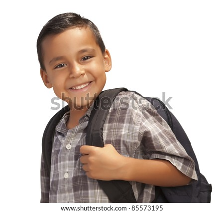 Happy Young Hispanic Boy with Backpack Ready for School Isolated on a White Background.
