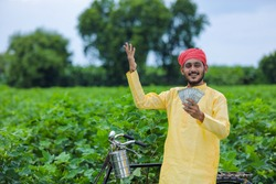 Happy Young indian farmer counting and showing money at cotton field