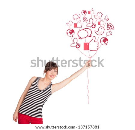 Happy young lady holding social icon balloon