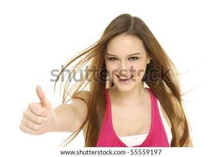 happy young lady showing thumb's up sign