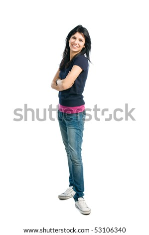 Happy young latin woman standing full length isolated on white background
