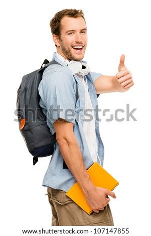 Happy young male student giving thumbs up sign on white background