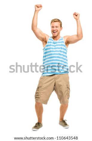 Happy young man celebrating success isolated on white
