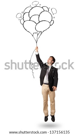 Happy young man holding balloons drawing