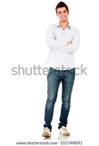Happy young man smiling - isolated over a white background