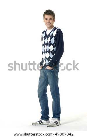 Happy young man smiling on a white isolated