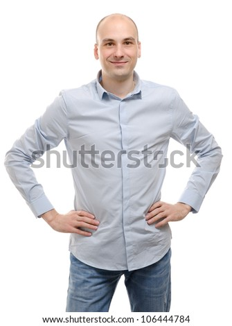 happy young man smiling on white background