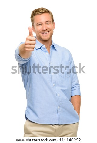 Happy young man thumbs up white background