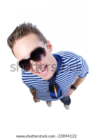 Happy young man with bright expressive emotions - high angle view #23894122