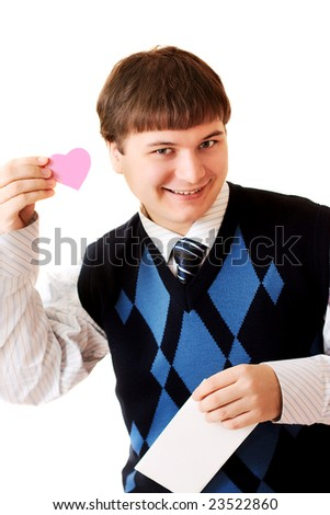 happy young man with valentine on white background