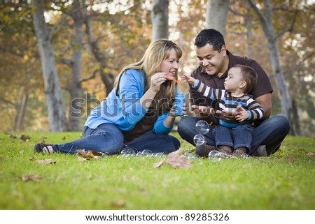 Happy Young Mixed Race Ethnic Family Playing Together with Bubbles In The Park.