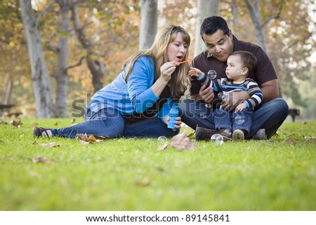 Happy Young Mixed Race Ethnic Family Playing with Bubbles In The Park.