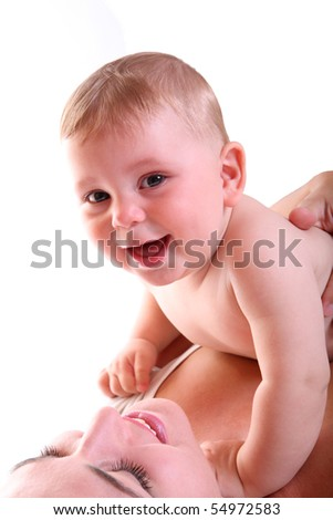 happy young mother playing with her baby boy