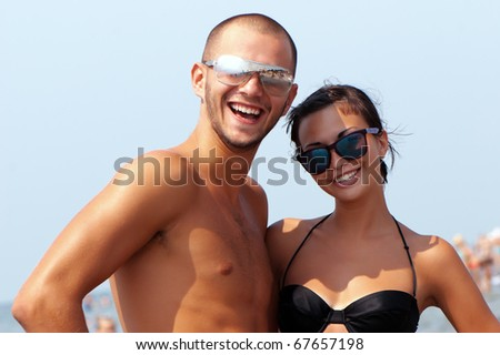 Happy young pair on a vacation