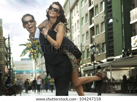 Happy young people wearing sunglasses