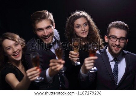 happy young people with a glass of wine. #1187279296