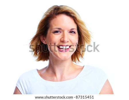 Happy young smiling woman. Isolated over white background.