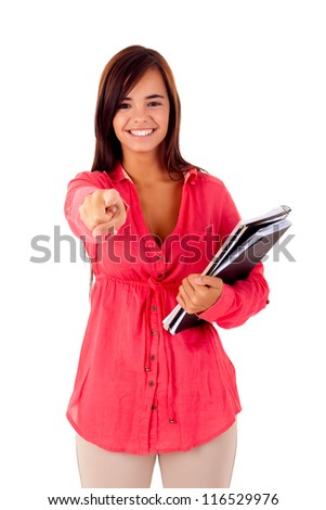 Happy young student expressing positivity sign, isolated over white - stock photo