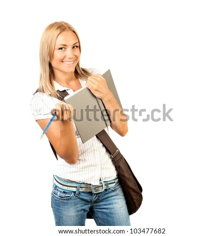 Happy young student girl holding books, high school or college graduand, cute casual teenager smiling, standing isolated on white background, studying at university, back to school, education concept