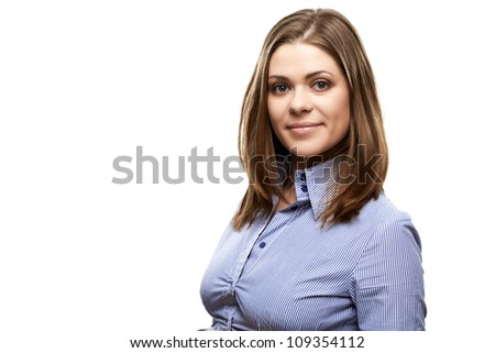 Happy young student girl isolated on white background. Close up portrait. - stock photo