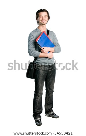 Happy young student standing full length with books and notes isolated on white background