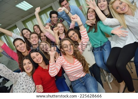 happy young teens group in school have fun an learning lessons #225628666
