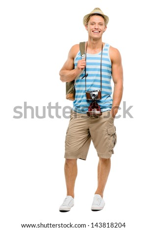 Happy young tourist man isolated on white background