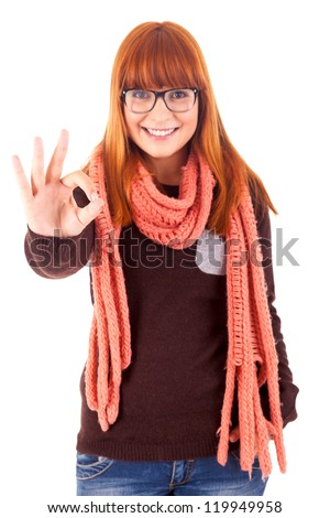 Happy young woman expressing positivity sign, isolated over white - stock photo