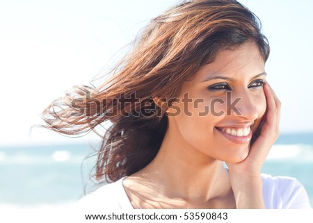 happy young woman face closeup