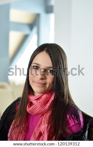 happy young woman in a winter wardrobe