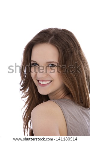 Happy young woman in long brown hair isolated on white