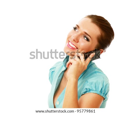Happy young woman on mobile phone isolated on white background