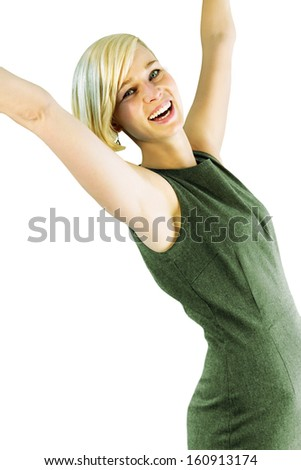 Happy young woman pulls up her arms. Isolated version.