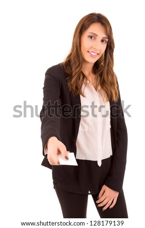 Happy young woman showing greeting card, isolated over white