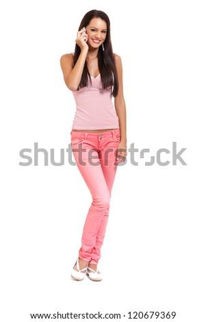 happy young woman speaking on earphone