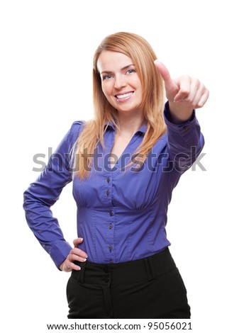 Happy young woman standing smiling showing thumb isolated on white