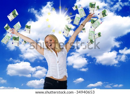 happy young woman trowing lot of euros in the air celebrating