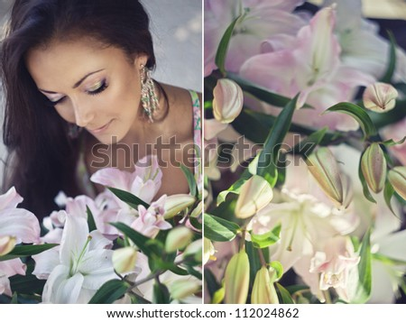 Happy young woman with a pink lilies. collage