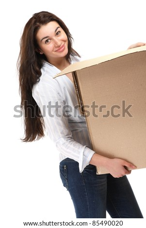 Happy young woman with cardboard relocating. Isolated on white background