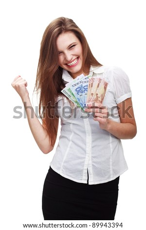 Happy young woman with cash isolated on white