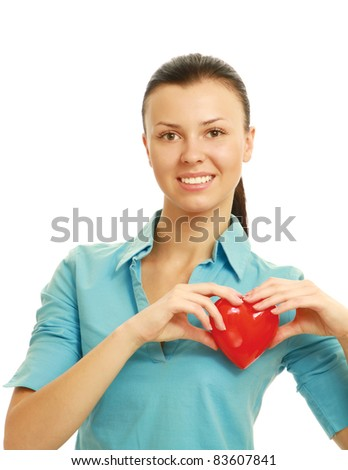 Happy young woman with heart love symbol  isolated on white background