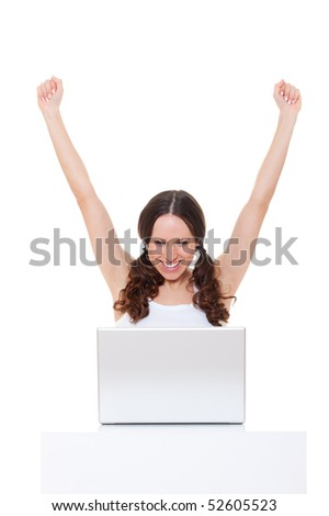 happy young woman with laptop. isolated on white background