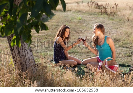 Happy young women tasting wine during a picnic in golden evening light