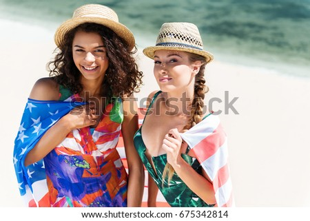 Happy youthful girls enjoying their rest outdoor #675342814